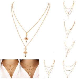 성명 목걸이 멀티 레이어 2 층 목걸이 대리석 모조 다이아몬드 모자이크 긴 목걸이 Collares 도매 Bijoux 펜던트 목걸이
