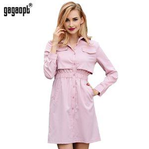 All'ingrosso-Gagaopt 2017 nuovi arrivi Autunno Dress Women False Pocket Shirt Dress Tunica Office Dress Robe Vestidos
