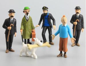 Lote 6 pcs As Aventuras de Tintin Snowy Capitão Haddock PVC Action Figure Boneca Play Set Toy estatueta bolo Topper presente 4-9cm