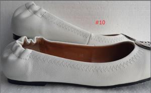 Famoso designer di marca oro smalto fibbia in metallo pelle di pecora vera pelle ballerine slip on casual mocassini donna scarpe da donna Sz 35-41