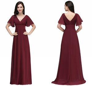Оптовая цена Темно-красный Длинные шифоновые вечерние платья с V-образным вырезом с низкой спинкой Flowy A Line Вечерние платья с рукавами спикера Дешевые онлайн