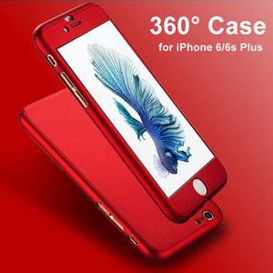 Custodia ultra sottile 360 + protezione dello schermo in vetro temperato 9H per Capinhas iPhone 6 7 6S 7 Plus Custodia per telefono Copertura completa del corpo Fundas Capa