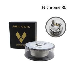Vapor Tech Nichrome 80 Wire Resistenze di riscaldamento Bobina 30Feet Spool AWG 22 24 26 28 30 32 Calibro per atomizzatore RDA DHL Free