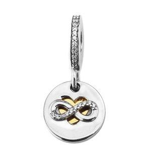 2017 Winter New 925 Sterling Silber Diy Perlen für Schmucksachen, die Herz der Unendlichkeit baumeln Charme Schmuck Passend für Frauen Armbänder