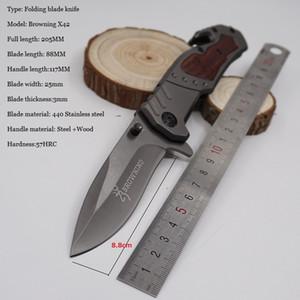 Browning Messer X42 Taktisches Messer Überlebens-faltendes Blatt-Messer Gehärteter 440 57HRC Taschen-Jagd-Messer im Freien kampierendes EDC-Werkzeug
