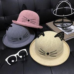 Venta al por mayor de los niños lindos de dibujos animados sombrero de pescador de encaje gato superior sombreros orejas Stingy Brim sombreros envío gratis