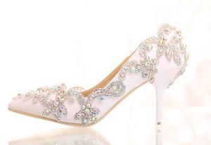 transporte livre de cristal de diamante branco de noiva de salto alto sapato vestido de casamento sandálias de dedo apontado sexy lady sapatos 361
