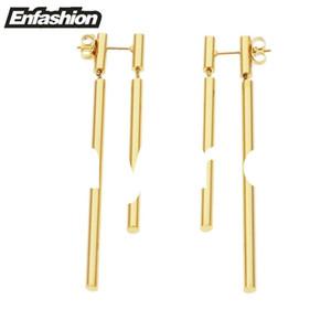 Enfashion Schmuck Doppel Lange Ohrringe baumeln Ohrring-Rose Gold Farbe Ohrringe Edelstahl-Tropfen-Ohrringe für Frauen en gros