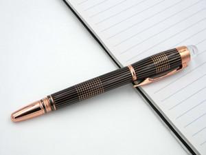 Siyah altın Şerit Trim Kristal Cap Metal RollerBall Pen gül