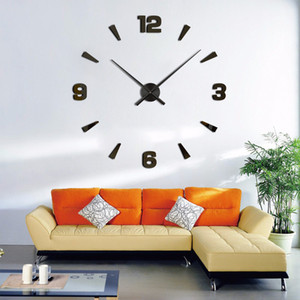 Wholesale-New Arrival Wall Clocks Modern Style Wall Watch Sticker Acrylic 3D DIY Clock Home Decor Wall Sticker Living Room Decorative