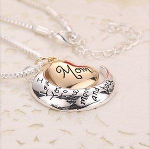 Hohe Qualität Herz Schmuck Ich liebe dich bis zum Mond und zurück Mom Anhänger Halskette Muttertag Geschenk Großhandel Modeschmuck ZJ-0903221