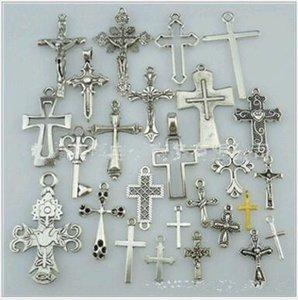 50 unidslote Mix Antique Silver Cross Connector Charms colgantes de aleación religiosa joyería accesorios para la fabricación de joyas