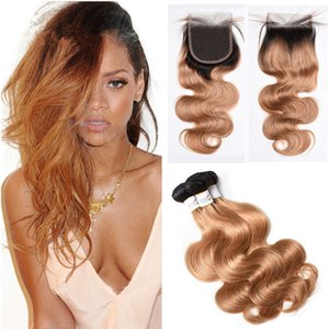 Two Tone 1B 27 Honey Blonde Ombre Virgin Hair Con Closure Marrón Light Ombre Hair Con Closure Body Wave 3 Paquetes con Lace