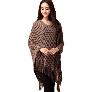 Wholesale-Women Tassels Hem Batwing Sleeve Shawl Cape Poncho Knit Cardigan Sweater Coat