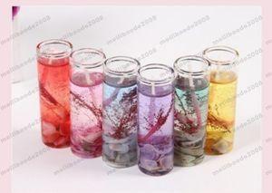 Botellas de vidrio Ocean Gel Cera Velas Banquete de bodas Vela Celebración Rosa Vela Azul Decorar Cumpleaños Velas 6 colores