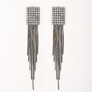 Design Full Rhinestone Tassel Square Earrings for Women Tungsten Steel Ash Bling Sexy Long Earrings Wholesale #E037