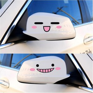2016 New Kawaii 3D Smile Face Decal Sticker Rear Mirror Reflective Cartoon Cute Stickers Car Styling