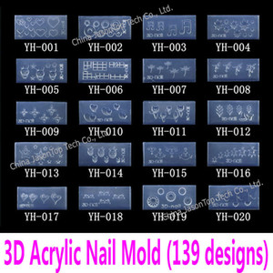 Wholesale- 3d Acrylic Nail Template Acrylic Nail Carving Mold Nail Art Template in 139 Designs Pattern Decoration Soft Silicon Gel Tools