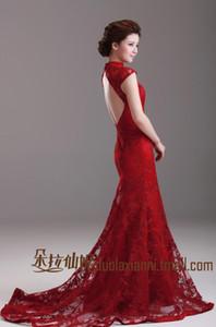 2019 Gelinlik Çin Kırmızı Mermaid Cheongsam Elbise Yüksek Boyun Cap Sleeve Klasik Vintage Dantel Gelinlik Backless Sweep Tren Brid