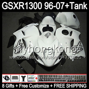 parlak beyaz 8 hediye Için SUZUKİ Hayabusa GSXR1300 96 97 98 99 00 01 13MY127 GSXR 1300 GSX-R1300 GSX R1300 02 03 04 05 06 07 beyaz siyah Fairing