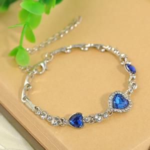 Vendita calda Nuovo design Deluxe cristallo austriaco Amore pendente braccialetto birthstone Ocean Heart cristallo Forma pesca Swarovski Elements Bracciale