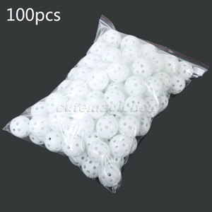 Wholesale- White 100Pcs/Pack Plastic Whiffle Airflow Hollow Golf Balls Practice Golf Balls Training Sports Golf Accessories Aids Tool Clubs
