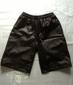 Gold zipper Tether Breathable Elastic Waist Black Men Casual Shorts   Fashion Faux PU Leather   M-3XL