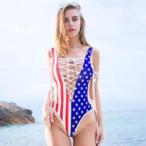 Más caliente del envío de las mujeres del verano del bikini de la bandera atractiva ahueca hacia fuera sin respaldo de rayas americana del traje de baño del traje de baño de baño acolchada gratuito