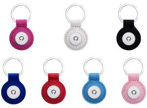 7 Renkler Mix Moda PU Deri Yuvarlak Anahtarlık Noosa Chunks 18mm Yapış Düğmeler Erkekler Kadınlar Için Anahtar Zincirleri Takı