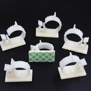 Multi-size Self-Adhesive Backed Cable Tie Holder Clips Wire Management Organizer Clips Clamps Adjustable Nylon in White