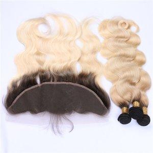 Golden Blonde Ombre peruviana dei capelli umani tessere con frontale 4 pezzi Lot Wave 1B / 613 Blonde Ombre 13x4 pizzo frontale di chiusura con 3Bundles