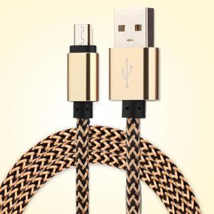 Micro USB tipo C 1M los 3FT 2.0A Wave trenzado de aluminio del metal del cargador del adaptador de cables de nylon trenzado de alambre del cable de 100PCS teléfonos inteligentes