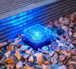 LED solaire au sol en verre de cristal de glace Brique Forme Blanc extérieur Cour Jardin Terrasse Route Lampe