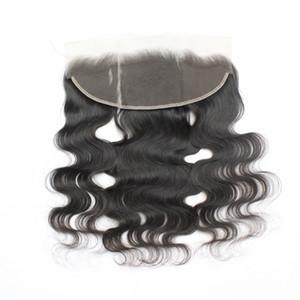 """7A Virgin Body Wave pizzo frontale chiusura capelli umani brasiliani Frontals 13 * 4 1B parte centrale pizzo frontale peruviano capelli 8 """"-20"""""""