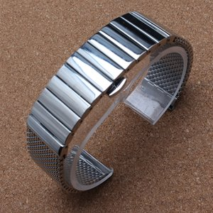 스테인레스 스틸 세련 된 실버 18mm / 20mm / 22mm / 24mm 나비 걸쇠 Milanese 상어 메쉬 Milanese 밴드 남자 솔리드 손목 시계 패션 새로운