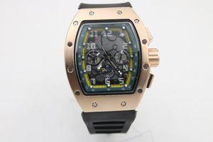 고품질 남자 011 시계 검은 색 고무 스테인레스 스틸 로즈 골드 케이스 녹색 그늘 자동 기계 시계