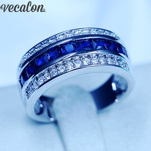 Vecalon Princess cut sapphire Cz Wedding Band Ring for Men 10KT White Gold Filled Male Engagement Band ring