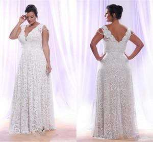 Vintage Full Lace Plus Size Brautkleider 2017 V-Ausschnitt Low Back A Line Brautkleider für Garten Hochzeit Brautkleider
