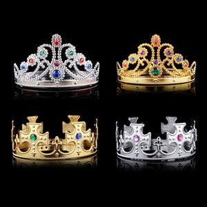 Lujo Crystal Diamond King Queen Crown Sombreros Cosplay Holloween Party Birthday Princess Sombreros Gorras Oro Plata Regalos DHL Gratis WX-H04