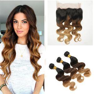 1B 4 27 Honey Blonde Ombre 360 Lace Frontal Closure With Bundles Tres tonos Ombre Body Wave Peruano Hair con 360 Frontales de encaje