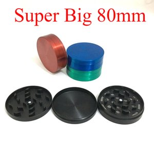 Super Big Huge 80mm 3layers Zinc Alloy Herb Grinder Tabaco Trituradora de humo para Hookah Shisha Pipa de agua de vidrio Bong 4colors