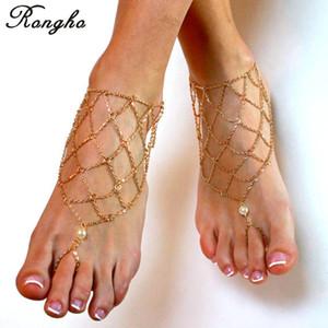 Nuevas tobilleras atractivas de la cadena del metal para las mujeres sandalias descalzas pulseras del tobillo cadena de la pierna del oro tobillo del bikini pie de la playa jewerly tobillo neto