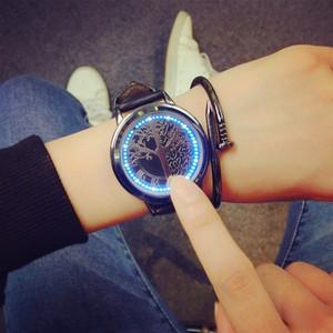 Wengle 2017 nouveau concept créatif smart écran tactile Designer bleu Led clignotant bande de cuir Sport Mens Watch montres-bracelets