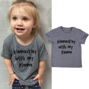 2017 Fashion Baby Toddler Kids Clothing Girls Boys Short Sleeve Gray Letter Print T-shirt crew neck Cotton Tee Tops 1-6T
