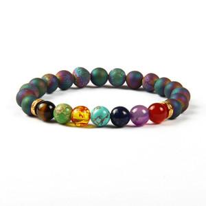 Novo Design 7 Chakra Bracelet Men azul e roxo Scrubs Aberturas Laugh Beads Cura Gemstone Yoga Meditação Pulseiras para mulheres