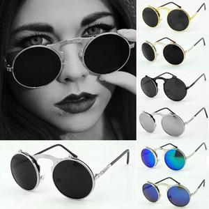 Atacado-quente steampunk venda Vintage óculos de sol rodada aleta do punk do vapor mulher revestimento de metal óculos de sol retro homens óculos de sol redondos