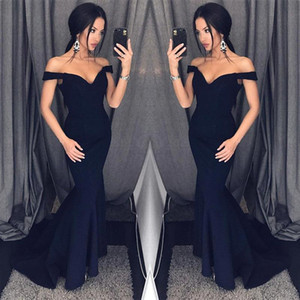 2018 New Sexy Sereia Preta Vestidos de Noite Fora Do Ombro Vestidos de Baile Barato Formal Ocasião Especial Vestidos de Dama de Honra Vestidos BA6751