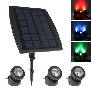 DHL бесплатно 3 х солнечных батарей супер яркий цвет RGB светодиодные лампы + 1 х солнечная панель открытый двор путь бассейн сад свет водонепроницаемый IP68 LEG_059
