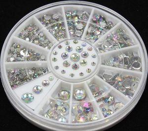 Vente en gros- Blueness 2mm 3mm 4mm 5mm 3D Nail Art Décorations Conseils Cristal Glitter Strass Pour Les Ongles BRICOLAGE Charms Roue Manucure ZP001