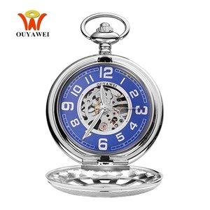Reloj Masculino 패션 럭셔리 OYW 기계 손 바람 회중 시계 남성 펜던트 시계 전체 스틸 케이스 포켓 시계 줄 시계 Relogio